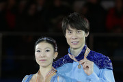 Third place winner Qing Pang and Jian Tong of China pose on the podium after the medals ceremony of the Pairs Skating on day three of the ISU Four Continents Figure Skating Championships 2015 at the Mokdong Ice Rink on February 14, 2015 in Seoul, South Korea.