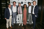 (L-R) IVY Founder Beri Meric, actor Barry Sloane, managing supervisor at FleishmanHillard Scott Durday, vice president at FleishmanHillard Guia Golden, communications manager at General Motors / Cadillac Eneuri Acosta and IVY founder Philipp Triebel attend the IVY Los Angeles innovator dinner presented by Cadillac and IVY at A.O.C on April 15, 2015 in Los Angeles, California.