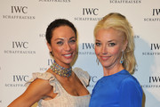 Lilly Becker (L) and Karoline Huber, Director of Marketing & Communications at IWC attend the exclusive Filmmakers Dinner during the Cannes International Film Festival hosted by Swiss watch manufacturer IWC Schaffhausen in partnership with Finch's Quarterly Review at the famous Hotel du Cap-Eden-Roc on May 21, 2012 in Cap d'Antibes, France.