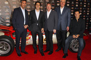 (L-R) IndyCar CEO Randy Bernard, IZOD IndyCar Series Driver Dario Franchitti, Izod Executive Vice President of Marketing Mike Kelly, Indianapolis Motor Speedway President and CEO Jeff Belskus and Dancing with the Stars champion and IZOD IndyCar Series Driver Helio Castroneves attend an IZOD party to celebrate the 100th Anniversary Indianapolis 500 at The Colony on April 13, 2011 in Los Angeles, California. The Indy 500 will take place on May 29, 2011 at the Indianapolis Motor Speedway.
