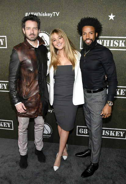 """Paramount Network's """"68 Whiskey"""" Premiere Party [event,leather,outerwear,jacket,premiere,leather jacket,style,68 whiskey,denim richards,ian bohen,hassie harrison,premiere party,l-r,los angeles,california,sunset tower,paramount network,ian bohen,hassie harrison,68 whiskey,los angeles,yellowstone,photography,photograph,television,getty images]"""