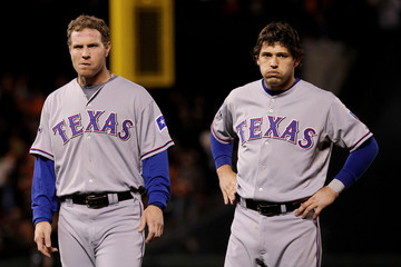 Ian Kinsler Josh Hamilton Texas Rangers v San Francisco Giants, Game 2