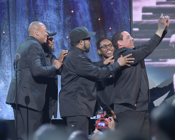 31st Annual Rock and Roll Hall of Fame Induction Ceremony - Show [event,crowd,performance,photography,selfie,gesture,bodyguard,music artist,world,rapper,mc ren,dj yella,n.w.a.,dr. dre,barclays center,new york city,rock and roll hall of fame induction ceremony,ice cube,rock and roll hall of fame induction ceremony - show]