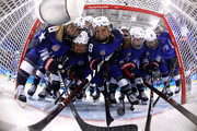 Team United States players pose in the goal prior to the Women's Gold Medal Game against Canada on day thirteen of the PyeongChang 2018 Winter Olympic Games at Gangneung Hockey Centre on February 22, 2018 in Gangneung, South Korea.