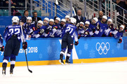 Hilary Knight #21 of the United States celebrates with teammates after scoring a first period goal against Canada during the Women's Gold Medal Game on day thirteen of the PyeongChang 2018 Winter Olympic Games at Gangneung Hockey Centre on February 22, 2018 in Gangneung, South Korea.