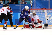 Hilary Knight #21 of the United States scores a first period goal against Shannon Szabados #1 of Canada during the Women's Gold Medal Game on day thirteen of the PyeongChang 2018 Winter Olympic Games at Gangneung Hockey Centre on February 22, 2018 in Gangneung, South Korea.