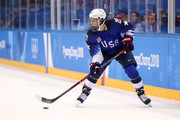 Hilary Knight #21 of the United States skates with the puck in the first period against Canada during the Women's Gold Medal Game on day thirteen of the PyeongChang 2018 Winter Olympic Games at Gangneung Hockey Centre on February 22, 2018 in Gangneung, South Korea.