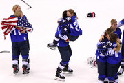Hilary Knight #21 hugs Kendall Coyne #26 of the United States after defeating Canada in overtime to win the Women's Gold Medal Game on day thirteen of the PyeongChang 2018 Winter Olympic Games at Gangneung Hockey Centre on February 22, 2018 in Gangneung, South Korea.