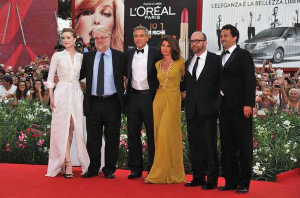 "(L-R) Actors Evan Rachel Wood, Philip Seymour Hoffman, director George Clooney and actors Marisa Tomei, Paul Giamatti and writer Grant Heslov attend ""The Ides Of March"" premiere during the 68th Venice Film Festival at the Palazzo del Cinema on August 31, 2011 in Venice, Italy."
