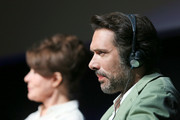 """Fanny Ardant and Nicolas Bedos attend the """"Il ladro di giorni"""" movie press conference during the 14th Rome Film Festival on October 20, 2019 in Rome, Italy."""