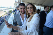 Juanes (L) and Karen Martinez attend The Inaugural $12 Million Pegasus World Cup Invitational, The World's Richest Thoroughbred Horse Race At Gulfstream Park at Gulfstream Park on January 28, 2017 in Hallandale, Florida.