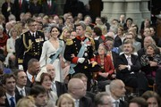 Princess Mary of Denmark and Prince Frederik of Denmark attend the inauguration of HM King Willem Alexander of the Netherlands and HRH Princess Beatrix of the Netherlands at New Church on April 30, 2013 in Amsterdam, Netherlands.