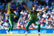 Imran Tahir of South Africa appeals unsuccesfully for a wicket during the ICC Champions trophy cricket match between India and South Africa at The Oval in London on June 11, 2017