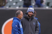 Head Coach Chuck Pagano of the Indianapolis Colts shares a moment with Andrew Luck #12 before the game against the Cincinnati Bengals at Paul Brown Stadium on October 29, 2017 in Cincinnati, Ohio.