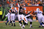 Jason Campbell #17 of the Cincinnati Bengals throws a pass during the third quarter against the Indianapolis Colts at Paul Brown Stadium on August 28, 2014 in Cincinnati, Ohio.