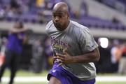 Adrian Peterson #28 of the Minnesota Vikings warms up before the game against the Indianapolis Colts on December 18, 2016 at US Bank Stadium in Minneapolis, Minnesota. Peterson returns to play after injuring his knee in week two of the season.