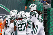 Cornerback Morris Claiborne #21 of the New York Jets celebrates with teammates after scoring a touchdown against the Indianapolis Colts in the first quarter at MetLife Stadium on October 14, 2018 in East Rutherford, New Jersey.