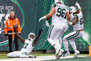 Cornerback Morris Claiborne #21 of the New York Jets celebrates after scoring a touchdown against the Indianapolis Colts in the first quarter at MetLife Stadium on October 14, 2018 in East Rutherford, New Jersey.