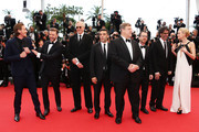 (L-R) Actor Garrett Hedlund , actor Justin Timberlake, musician T-Bone Burnett, actor Oscar Isaac, actor John Goodman, director Ethan Coen, director Joel Coen and actress Carey Mulligan attends 'Inside Llewyn Davis' Premiere during the 66th Annual Cannes Film Festival at Palais des Festivals on May 19, 2013 in Cannes, France.
