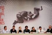 (L-R) Actor Garrett Hedlund, actor Justin Timberlake, actress Carey Mulligan, director Joel Coen, director Ethan Coen, actor Oscar Isaac and musician T-Bone Burnett attend the 'Inside Llewyn Davis' Press Conference during The 66th Annual Cannes Film Festival at Palais des Festivals on May 19, 2013 in Cannes, France.