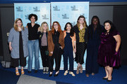 "(L-R) Flora Birnbaum, Allison Silverman, Amy Poehler, Natasha Lyonne, Cirocco Dunlap, Leslye Headland, Jocelyn Bioh and Jenelle Riley attend the Inside The Writer's Room of Netflix's ""Russian Doll"" panel event at the Writers Guild Theater on June 05, 2019 in Beverly Hills, California."