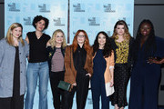"(L-R) Flora Birnbaum, Allison Silverman, Amy Poehler, Natasha Lyonne, Cirocco Dunlap, Leslye Headland and Jocelyn Bioh attend the Inside The Writer's Room of Netflix's ""Russian Doll"" panel event at the Writers Guild Theater on June 05, 2019 in Beverly Hills, California."