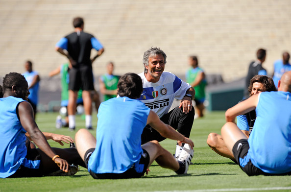 Jose Mourinho Jose Mourinho coach of Inter Milan talks with his team during practice at the Rose Bowl stadium on July 20, 2009 in Pasadena, California.