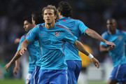 Diego Forlan of Atletico Madrid during the warms up at the UEFA Super Cup match between Inter Milan and Atletico Madrid at Louis II Stadium on August 27, 2010 in Monaco, Monaco.