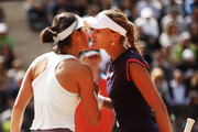 Kristina Mladenovic and Caroline Garcia of France shake hands after their first round match during day three of the International BNL d'Italia at Foro Italico on May 14, 2019 in Rome, Italy.