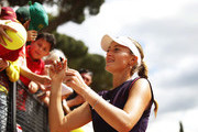 Kristina Mladenovic of France celebrates with fans after winning her match against Caroline Garcia of France during day three of the International BNL d'Italia at Foro Italico on May 14, 2019 in Rome, Italy.