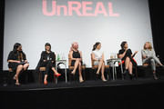 (L-R) Kerri Tarmey, Constance Zimmer, Marti Noxon, Shiri Appleby, Sarah Gertrude Shapiro and Nina Lederman speak onstage at the international press event for UnREAL on April 29, 2015 in New York City.