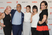 (L-R) Marti Noxon,  Sean Cohan, Shiri Appleby, Constance Zimmer and Sarah Gertrude Shapiro attend the international press event for UnREAL on April 29, 2015 in New York City.