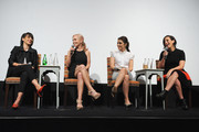 (L-R) Constance Zimmer, Marti Noxon, Shiri Appleby and Sarah Gertrude Shapiro speak onstage at the international press event for UnREAL on April 29, 2015 in New York City.