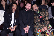 (L-R) Luka Sabbat, Kim Jones and Takashi Murakami attend the International Woolmark Prize 2020 during London Fashion Week February 2020 at Ambika P on February 17, 2020 in London, England.