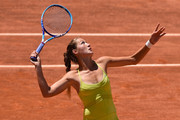 Bojana Jovanovski of Serbia in action during her victory over Madison Keys of USA in their Second Round match on Day Four of The Internazionali BNL d'Italia 2015 at the Foro Italico on May 13, 2015 in Rome, Italy.