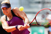 Sabine Lisicki of Germany in action against Daria Gavrilova of Australia during day three of The Internazionali BNL d'Italia 2016 on May 10, 2016 in Rome, Italy.