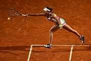 Ana Ivanovic of Serbia plays a forehand in her match against Anastasia Pavlychenkova of Russia on Day Two of The Internazionali BNL d'Italia 2016 on May 09, 2016 in Rome, Italy.