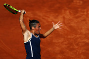 Francesca Schiavone of Italy returns a forehand in her match against Dominika Cibulkova of Slovakia during day two of the Internazionali BNL d'Italia 2018 tennis at Foro Italico on May 14, 2018 in Rome, Italy.