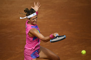 Victoria Azarenka of Belarus plays a forehand in her quarter-final match against Garbine Muguruza of Spain during day six of the Internazionali BNL d'Italia at Foro Italico on September 19, 2020 in Rome, Italy.