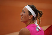 Victoria Azarenka of Belarus looks on as she sits down during a change of ends in her quarter-final match against Garbine Muguruza of Spain during day six of the Internazionali BNL d'Italia at Foro Italico on September 19, 2020 in Rome, Italy.