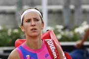 Victoria Azarenka of Belarus reacts as she walks off the court after defeat in her quarter-final match against Garbine Muguruza of Spain during day six of the Internazionali BNL d'Italia at Foro Italico on September 19, 2020 in Rome, Italy.