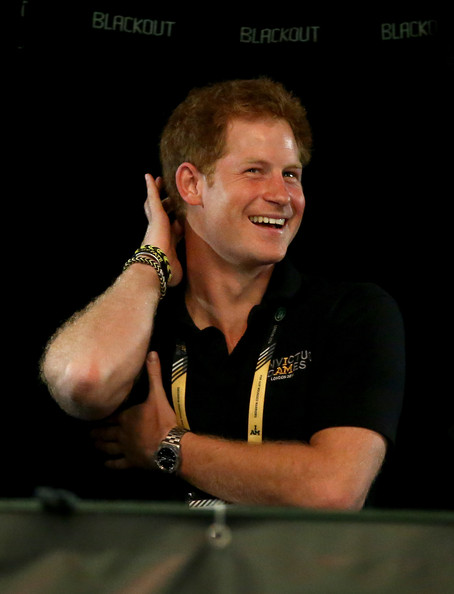 Prince Harry enjoys the Sitting Volleyball final match between Great Britain and the USA on Day Four of the Invictus Games at the Olympic Park on September 14, 2014 in London, England.