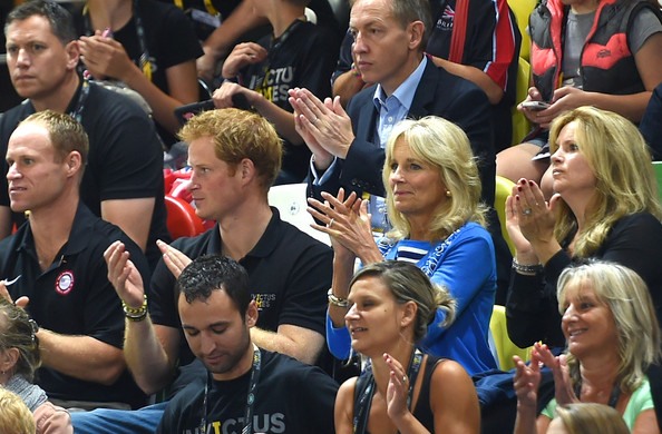 Prince Harry and Jill Biden watch the action during the Wheelchair Basketball match between United States and New Zealand on Day Three of Invictus Games at Olympic Park on September 13, 2014 in London, England.