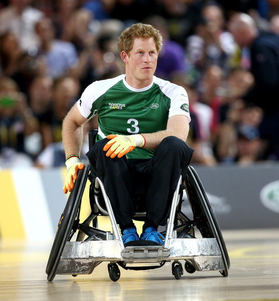 Prince Harry takes part in the Jaguar Land Rover Exhibition Wheelchair Rugby match during Day Two of the Invictus Games at the Olympic Park on September 12, 2014 in London, England.