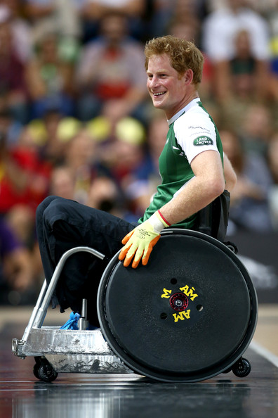 Prince Harry laughs as he gets sent to the sin-bin during the Jaguar Land Rover Exhibition Wheelchair Rugby match during Day Two of the Invictus Games at the Olympic Park on September 12, 2014 in London, England.
