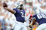 Shawn Robinson #3 of the TCU Horned Frogs looks for an open receiver against the Iowa State Cyclones in the first quarter at Amon G. Carter Stadium on September 29, 2018 in Fort Worth, Texas.