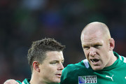 Captain Brian O?Driscoll  talks to Paul O?Connell of Ireland during the IRB 2011 Rugby World Cup Pool C match between Ireland and the USA on September 11, 2011 in New Plymouth, New Zealand.