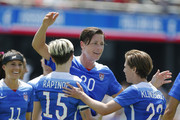Forward Abby Wambach #20 of the United States celebrates her second goal against Ireland during their international friendly match on May 10, 2015 at Avaya Stadium in San Jose, California.  The U.S. won 3-0.