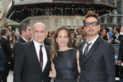 Sir Ben Kingsley, Susan Downey and Robert Downey Jr attends a special screening of 'Iron Man 3' at Odeon Leicester Square on April 18, 2013 in London, England.
