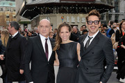Sir Ben Kingsley CBE, Susan Downey and Robert Downey Jr attends a special screening of 'Iron Man 3' at Odeon Leicester Square on April 18, 2013 in London, England.